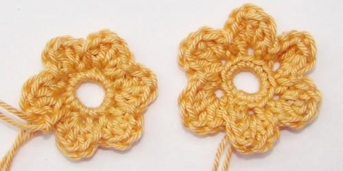 Einfache Häkelblumen - Variante Einstich