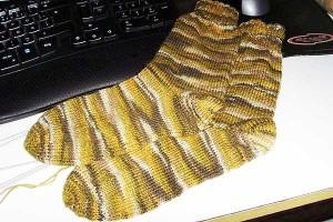 Socken mit Bumerangferse