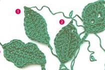 Blätter häkeln #3 * Ovales Blatt auf Fadenring