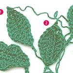 Blätter häkeln #4 * Häkelblatt mit 2 Rundungen