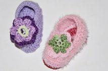 Gehäkelte Babyschuhe mit Häkelblüte