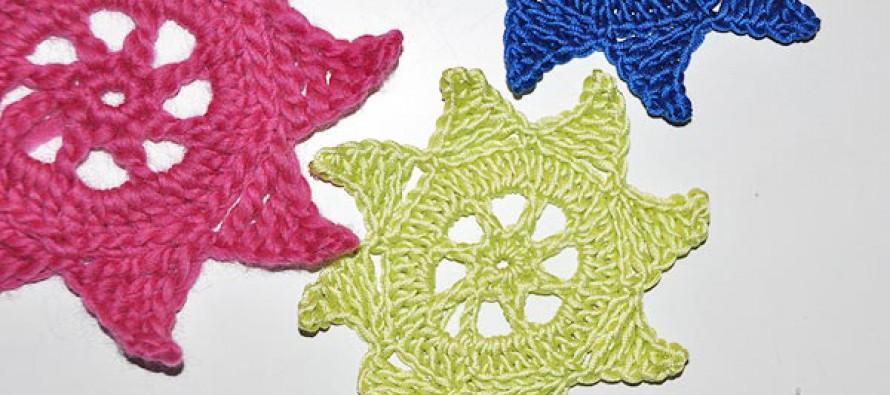 Weihnachtsstern #2 * Einfacher Häkelstern mit quergehäkelten Spitzen