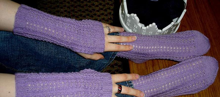 Handstulpen und Socken mit Ajourmuster