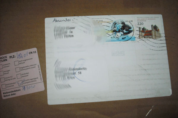 Brief Von Deutschland In Die Schweiz