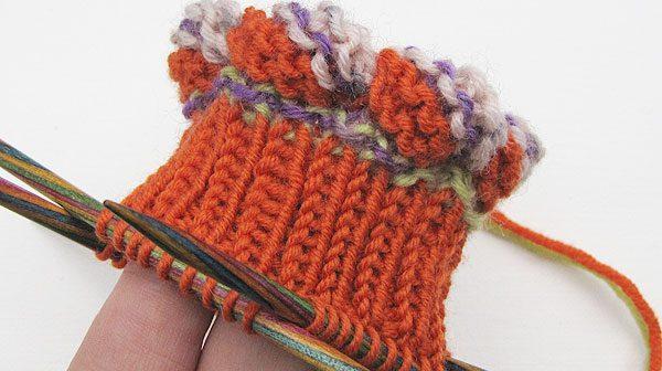 Socken stricken * Bündchen mit Looping