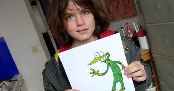 Luca Putz mit Kroko