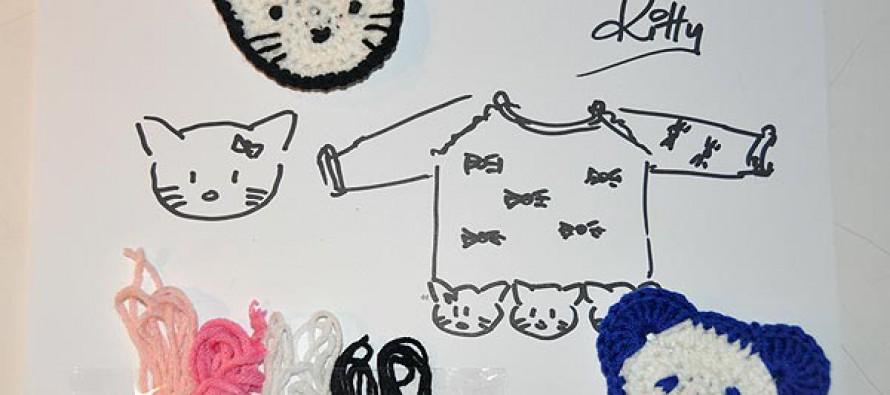 """Häkeln: Kitty-Kopf für Kinderpulli """"Kitty"""""""
