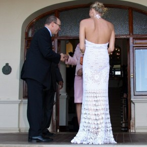 Princess Charlene and Prince Albert of Monaco at South African president Jacob Zuma's residence in Durban