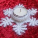 Kostenlose Häkelanleitung *Teelichthalter Schneeflöckchen*