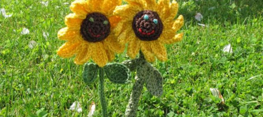 Häkelanleitung * lachende Sonnenblumen