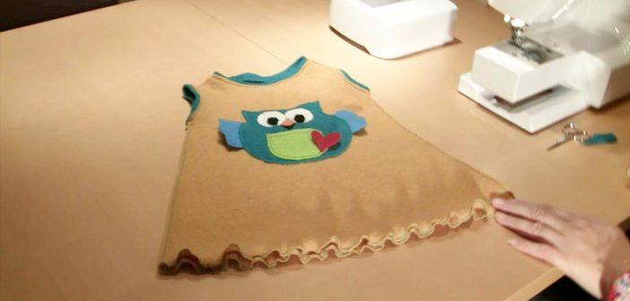 Kinderkleid mit Eule & Rüschen