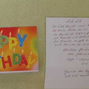 Glückwunschkarte zum Brettchenwebrahmen und den Faserprobenhäfchenfreundinnen