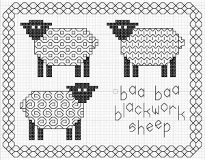 blackwork sheep Designer Kell Smurthwaite, Kincavel Krosses