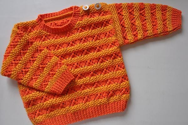 strickanleitung-kinderpulli-ajour-gelb-orange-1 » Stricken und ...