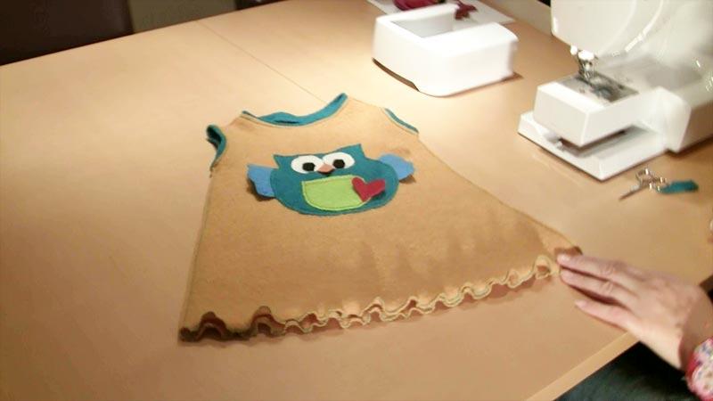 Nähen mit Claudia * Kinderkleid mit Eulen Applikation & Rüschen